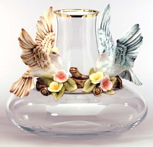 Cevik Vase w/ Birds (Crystal)