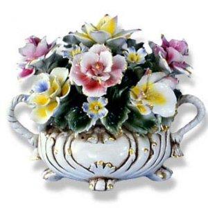 Capodimonte Small Flower Centerpiece w/ Two Handles
