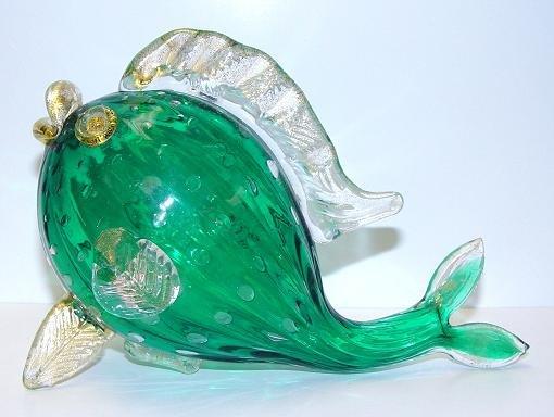 Italian Murano Green Fish