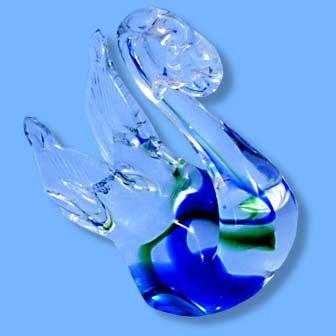 Italian Murano Swan Blue/Green