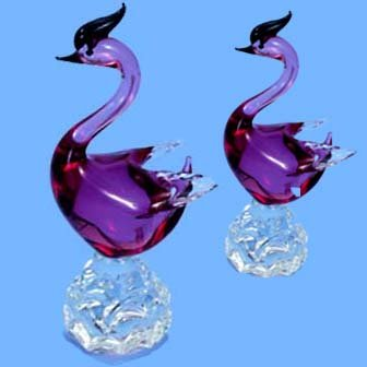 Italian Murano Set of Swans