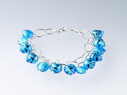 Murano Bracelet Sterling Silver w/ Silverfoil Aqua Bengal Heart
