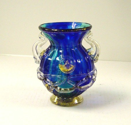 Italian Murano Blue/Clear Vase