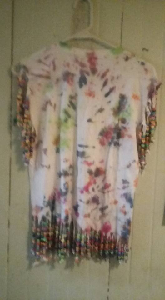 tie dyed beaded shirt
