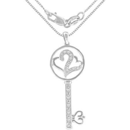Heart 2 Heart 1/10 Carat T.W. Diamond Sterling Silver Key Pendant
