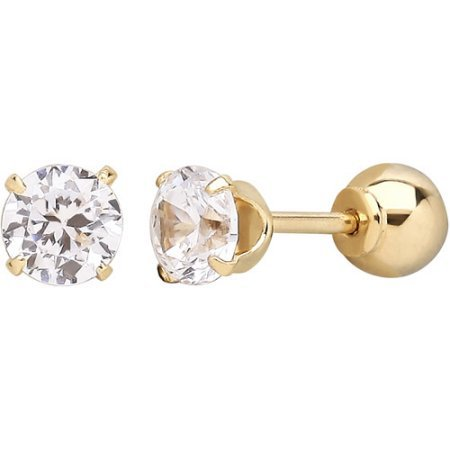 Simply Gold Kids' 10kt Yellow Gold 4mm CZ/4mm Ball Stud Earrings