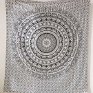WHITE BLACK ELEPHANT MEDITATION INDIAN MANDALA TAP