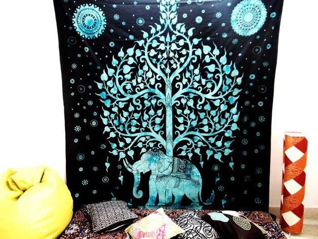 ELEPHANT TREE OF LIFE INDIAN MANDALA TAPESTRY WALL