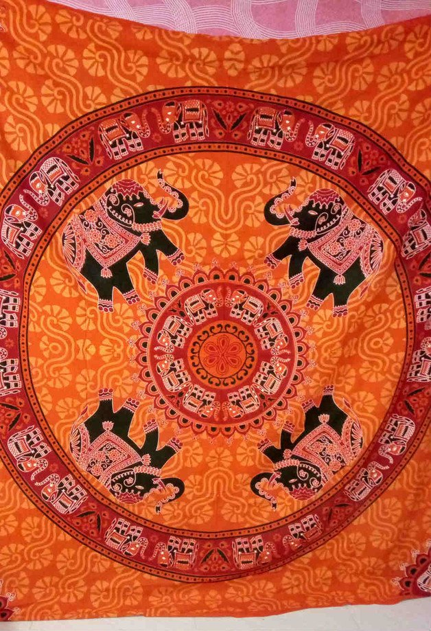 Orange ELEPHANT MANDALA Gpsy bohemine wall hang