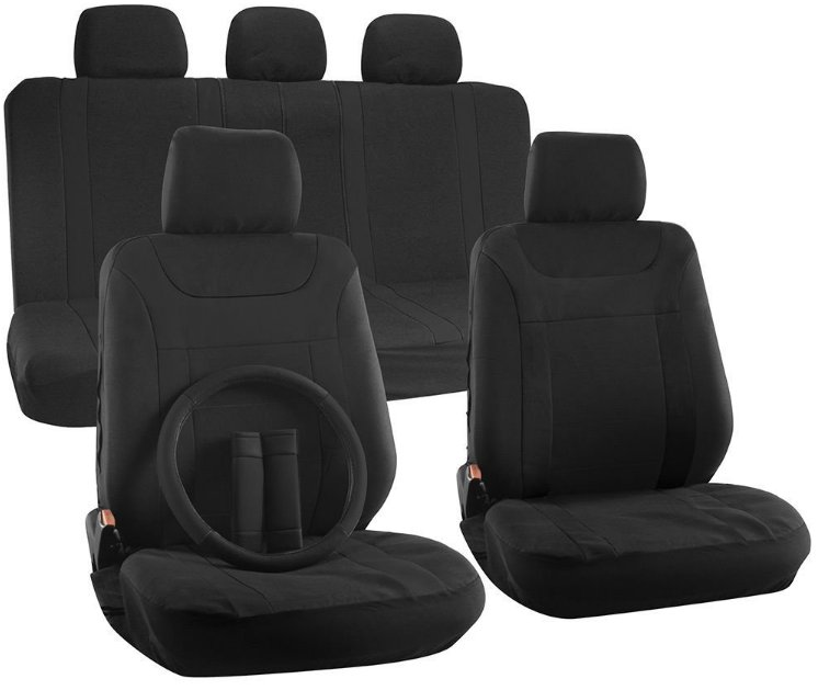 Latest Car Seat Cover for Honda Accord w/Steering Wheel/Head Rest Mesh Black Y Stripe