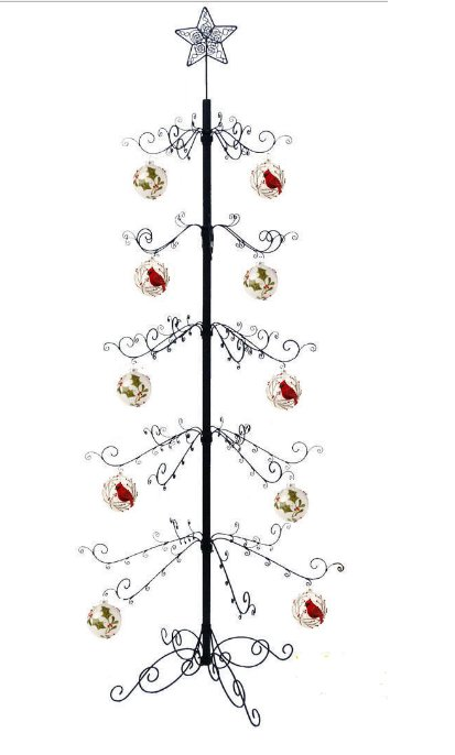 "Metal 84""H Artificial Christmas Ornament Display Tree in Black"