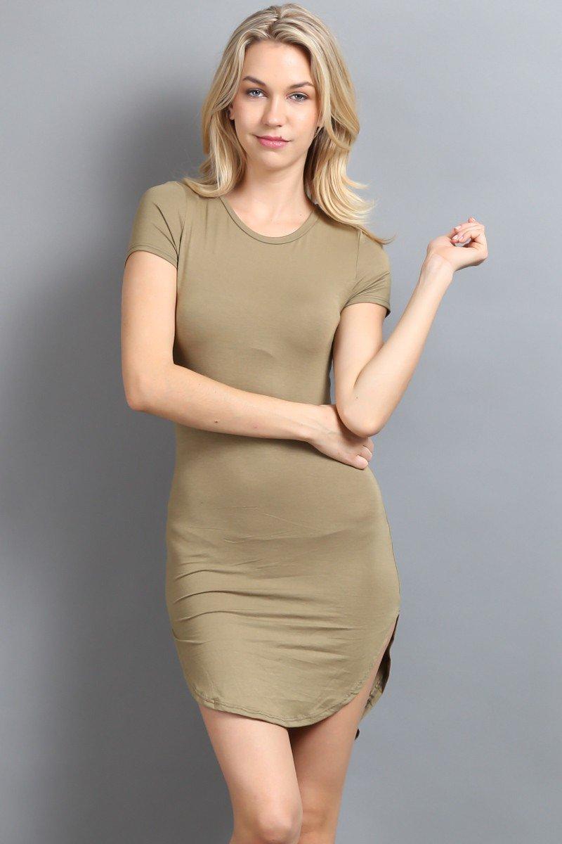 Side Slit Basic Jersey Dress
