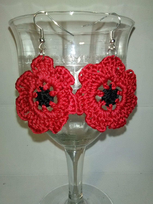 pretty poppy flower earrings