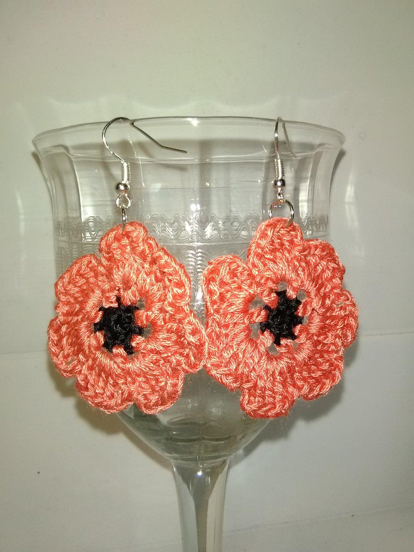 pretty Coral poppy flower earrings
