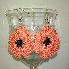 pretty Coral poppy flower earrings
