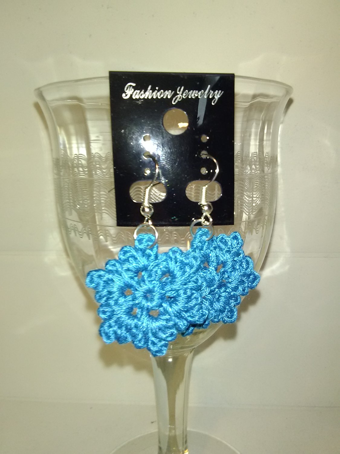 Bright Blue Crochet Snowflake Earrings.