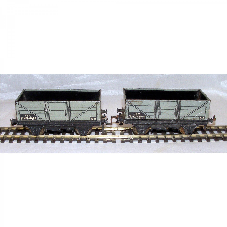 Two Vintage Tinplate British Railway Coal Wagons