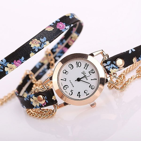 Fashion Summer Style Gnenva Flower Leather Bracelet Wristwatch