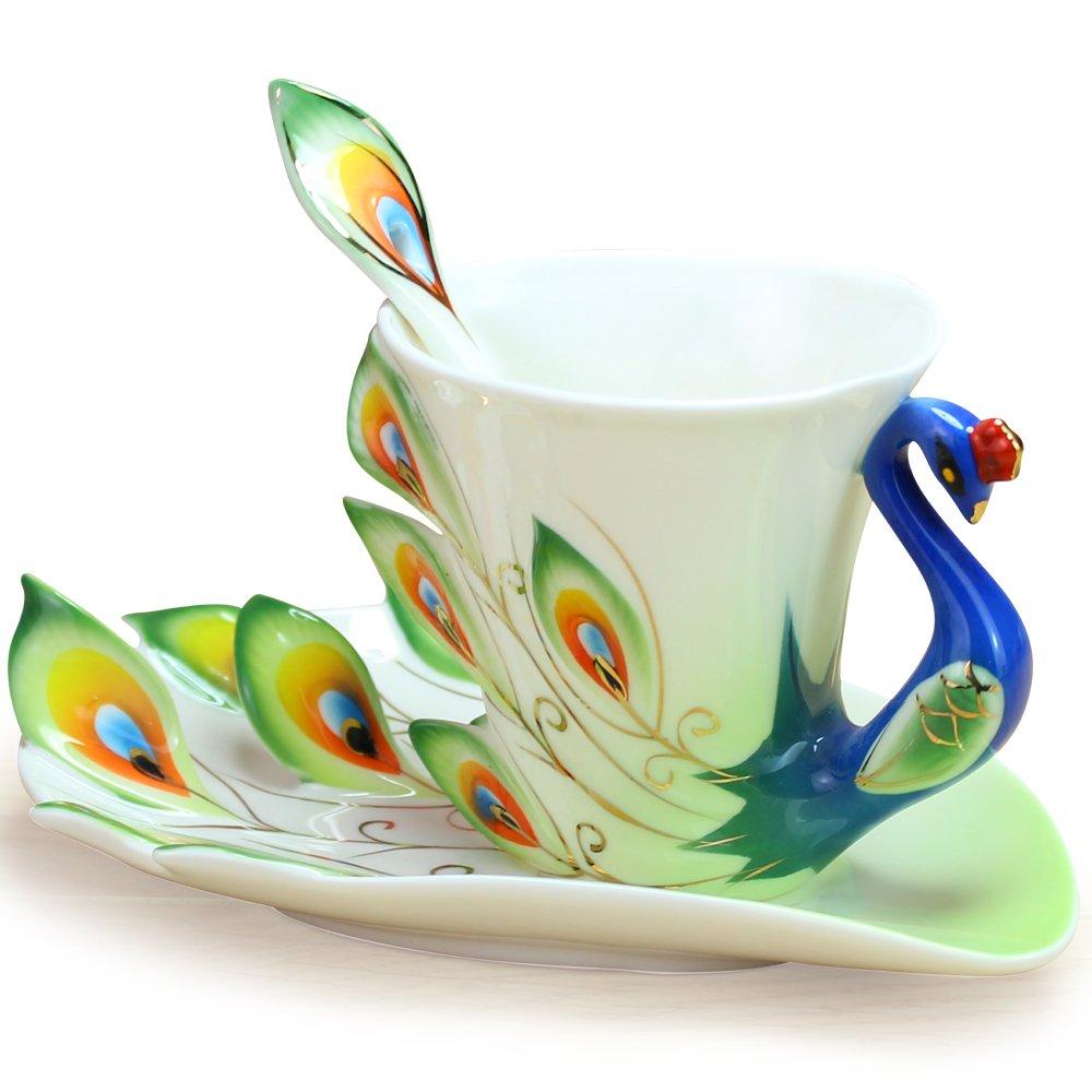 Coffee Mugs Tea Cup Green Fine Bone Enamel Porcelain Peacock Coffee Cup 3PC Set Saucer Spoon