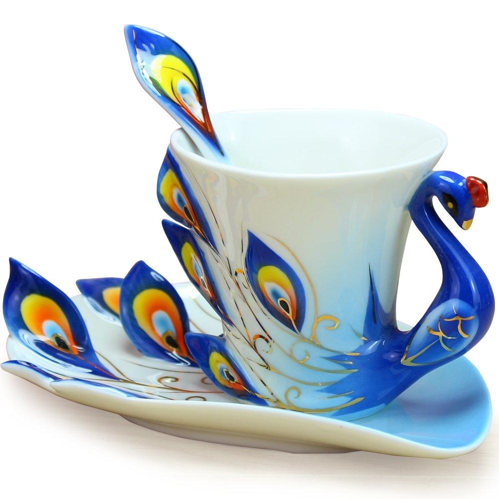 Cool Coffee Mugs Blue Fine Bone Enamel Porcelain Peacock Coffee Cup 3PC Set Saucer Spoon