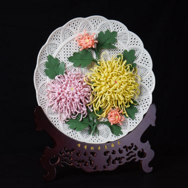 GoRigen Chrysanthemum chrysanthemum ornament plate to make pure handmade porcelain flowers