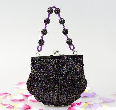 Elegant Rainbow Beaded Purse Clutch Bag Shaped Shell Wedding Prom