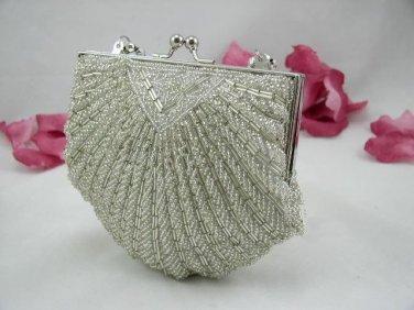 Elegant Silver Beaded Purse Clutch Bag Shaped Shell Wedding Prom