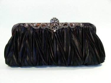 Black Satin Pleated Wedding Purse Clutch Jewelry Frame