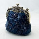 Royal Frame Blue Beaded Sequins Floral Evening Purse Bag
