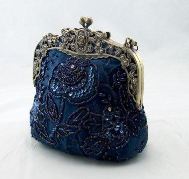 Royal Frame Blue Beaded Sequins Floral Evening Purse Bag