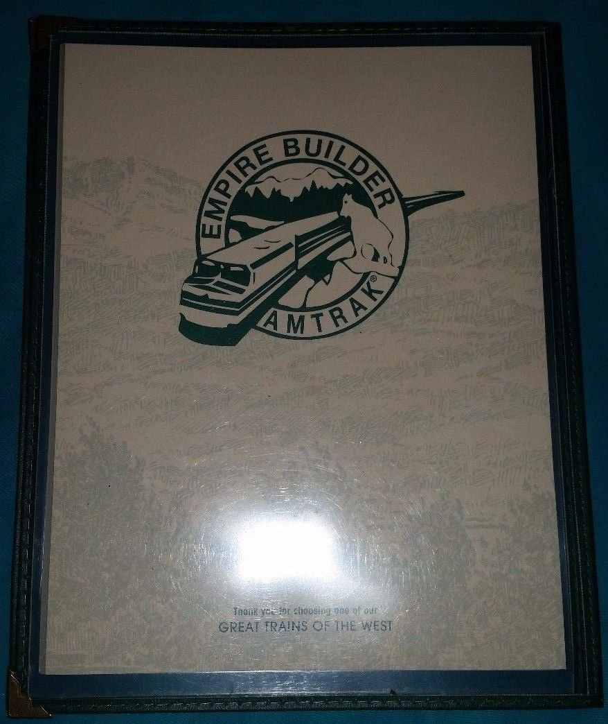 Amtrak The Empire Builder Menu - Used - Printed in 1997