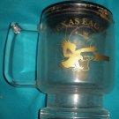 Clear Glass Texas Eagle Amtrak Coffee Mug with Plastic Lid
