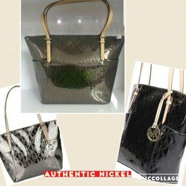 NWT Michael KORS Jet Set Item MK Signature Nickel Mirror Tote Bag MSRP $248.00