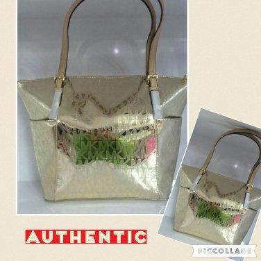 NWT Michael KORS Jet Set Item MK Signature Gold Mirror Tote Bag MSRP $248.00