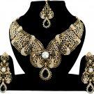 Indian Jewellery Black Party Wear Gold CZ Kundan Necklace Set