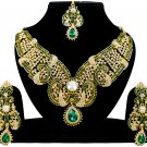 Indian Jewellery Green Wedding Gold Tone CZ Kundan Necklace Set