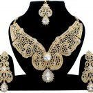 Indian Jewellery White Wedding Gold Tone CZ Kundan Necklace Set