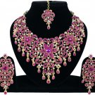 Indian Jewellery Magenta Princess Wedding Gold Tone AD Bollywood Necklace Set