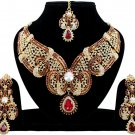 Indian Maroon Kundan Jewellery Party Wear Gold CZ Necklace Set