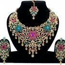Indian Jewellery Magenta Turquoise Princess Wedding Gold Tone AD Bollywood Necklace Set