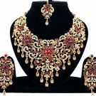 Indian Jewellery Maroon Princess Wedding Gold Tone AD Bollywood Necklace Set