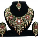 Indian Jewellery Maroon Green Princess Wedding Gold Tone AD Bollywood Necklace Set