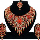 Indian Jewellery Red Princess Wedding Gold Tone AD Bollywood Necklace Set