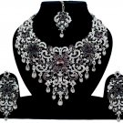 Indian Jewelry Wine Purple Princess Wedding Silver Plated AD Bollywood Necklace Set
