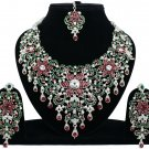 Indian Jewelry Maroon Green Princess Wedding Silver Plated AD Bollywood Necklace Set