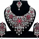 Indian Jewelry Maroon Princess Wedding Silver Plated AD Bollywood Necklace Set