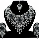 Indian Jewelry Black Princess Wedding Silver Plated AD Bollywood Necklace Set
