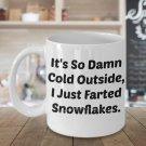 Funny SNOWFLAKE FARTS 11OZ Mug - Novelty Ceramic Coffee Tea Cup Drink