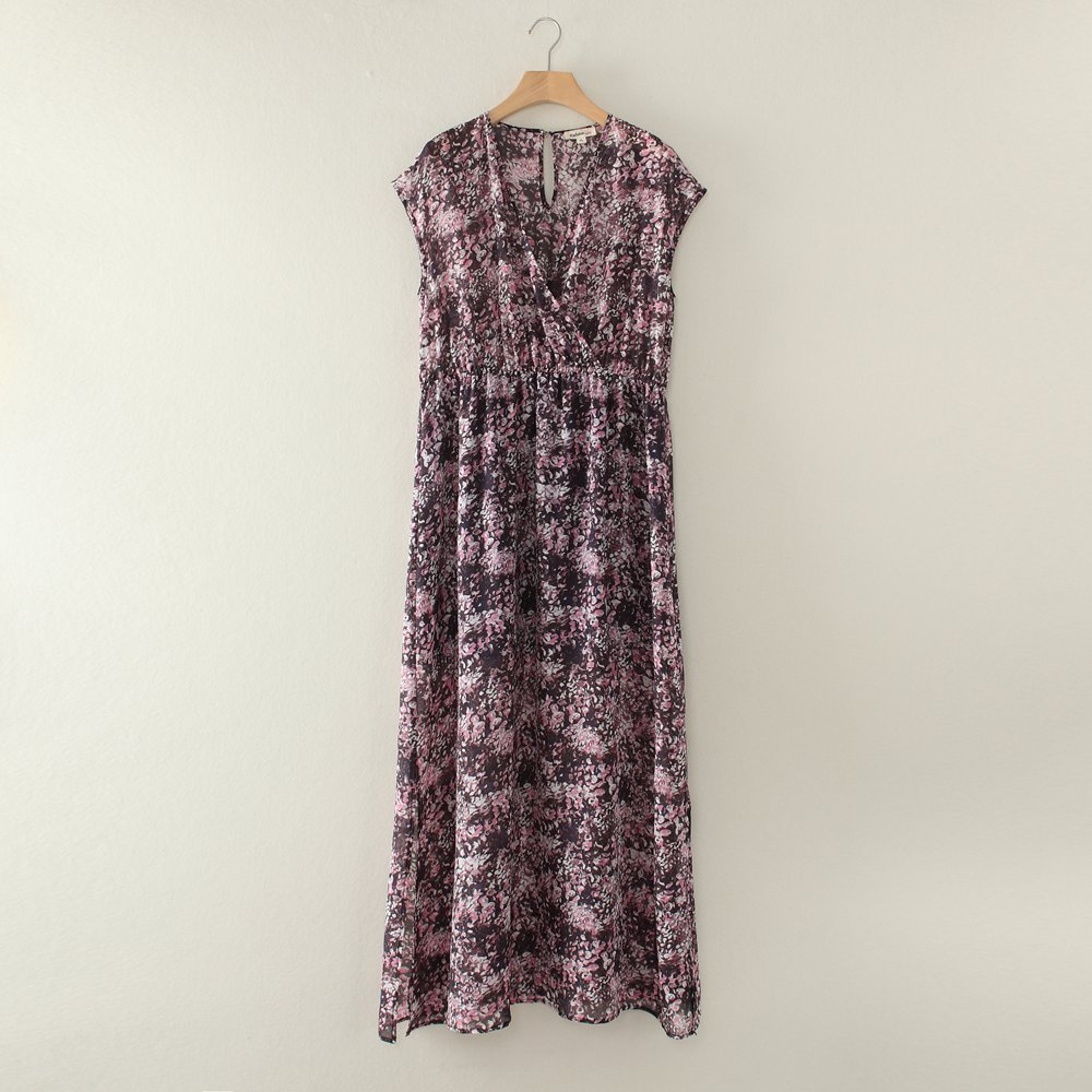 ON SALE Pure Nature  Silk Chiffon Maxi Dress Pink  Floral -L