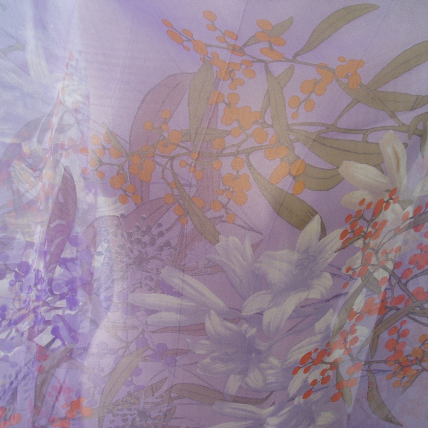 """ON SALE Pure Silk Chiffon Fabric Printed Floral Violet  55"""" width sale by meter"""